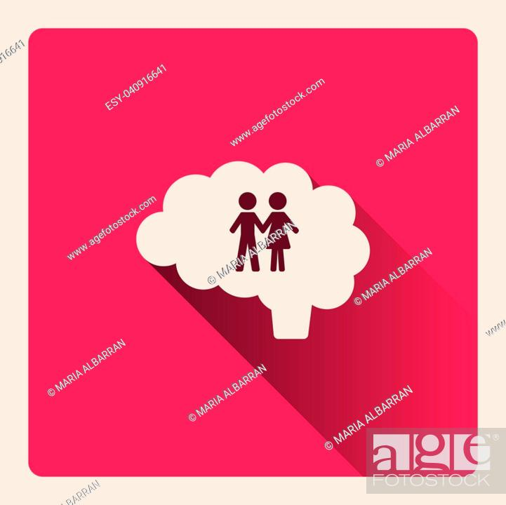 Vector: Brain thinking of the couple illustration on red square background with shade.
