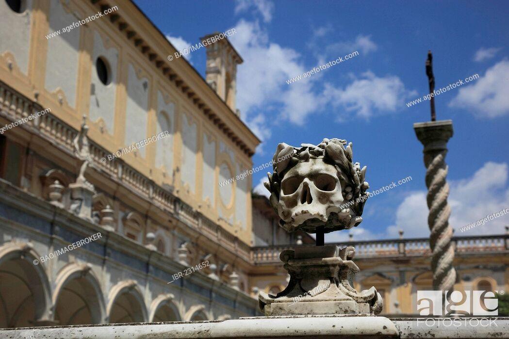 Stock Photo: Skull on the balustrade of the monastic cemetery, big cloister of the Certosa di San Martino monastery, Vomero district above Naples, Campania, Italy, Europe.