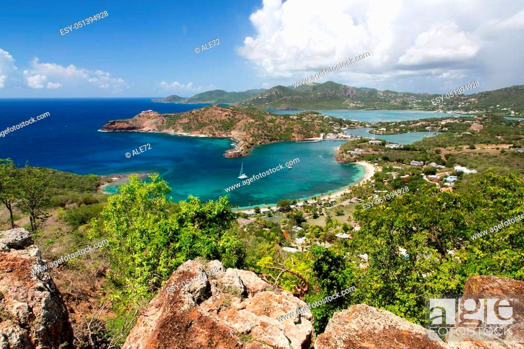 Stock Photo: Antigua, a panoramic view of English Harbor from Shirley Heights.