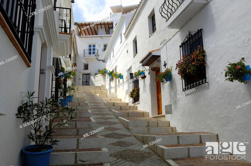 Stock Photo: Street, Frigiliana, Spain.