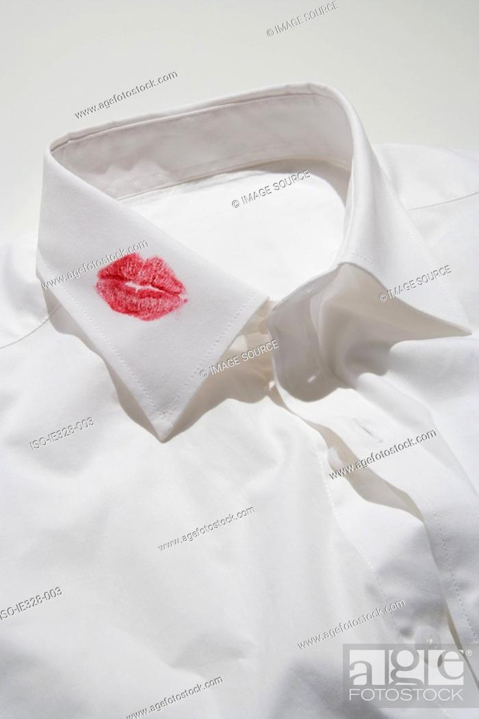 Stock Photo: Lipstick kiss on a collar.