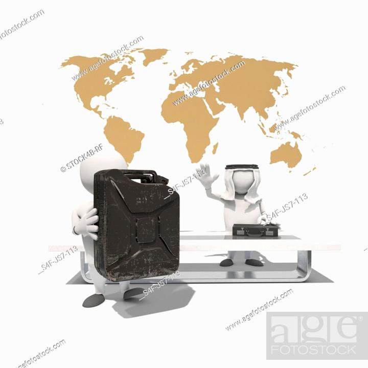 Stock Photo: Two anthropomorphic figures exchanging briefcase and fuel can in front of world map, CGI.