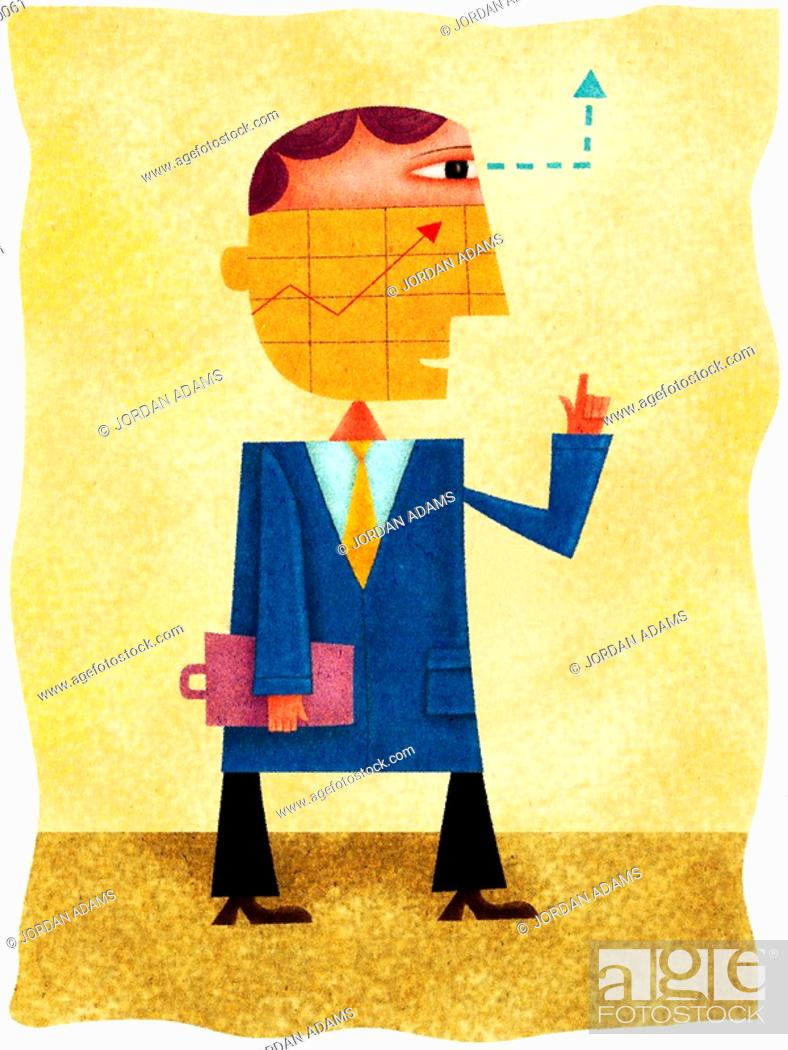 Stock Photo: A businessman with a chart over his face and his eyes and hands pointing upwards.