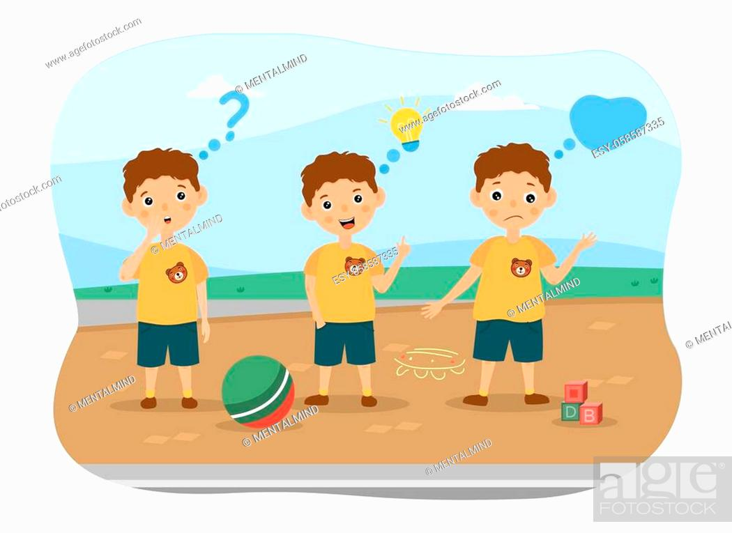 Stock Vector: Three young boys playing ball standing outdoors thinking with assorted thought icons and expressions, colored vector illustration.