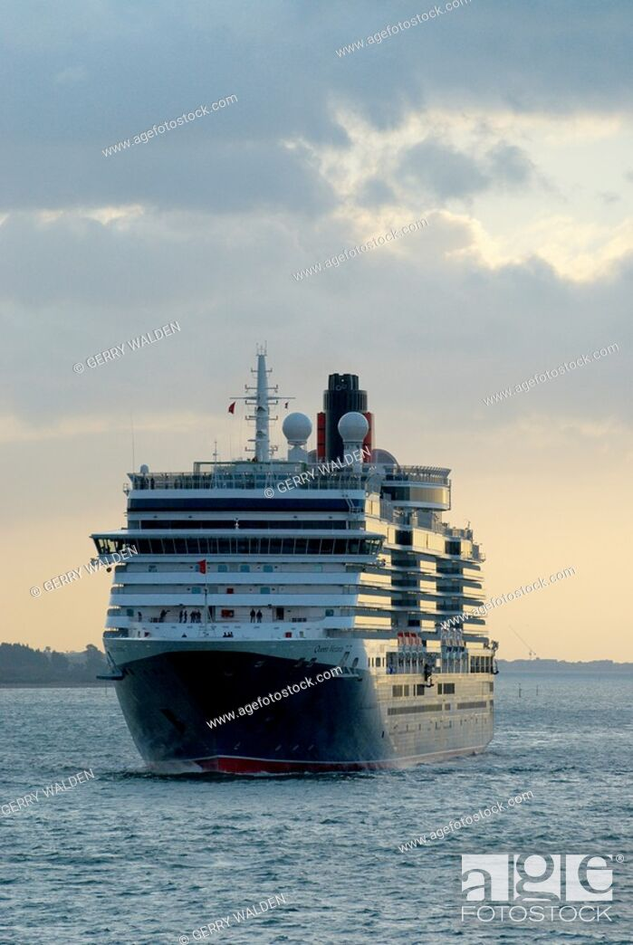 Stock Photo: The Carnival Cruises Cunard cruise liner arrives in her home port for the first time from the builders ready to be named by HRH Camilla Duchess of Cornwall at a.