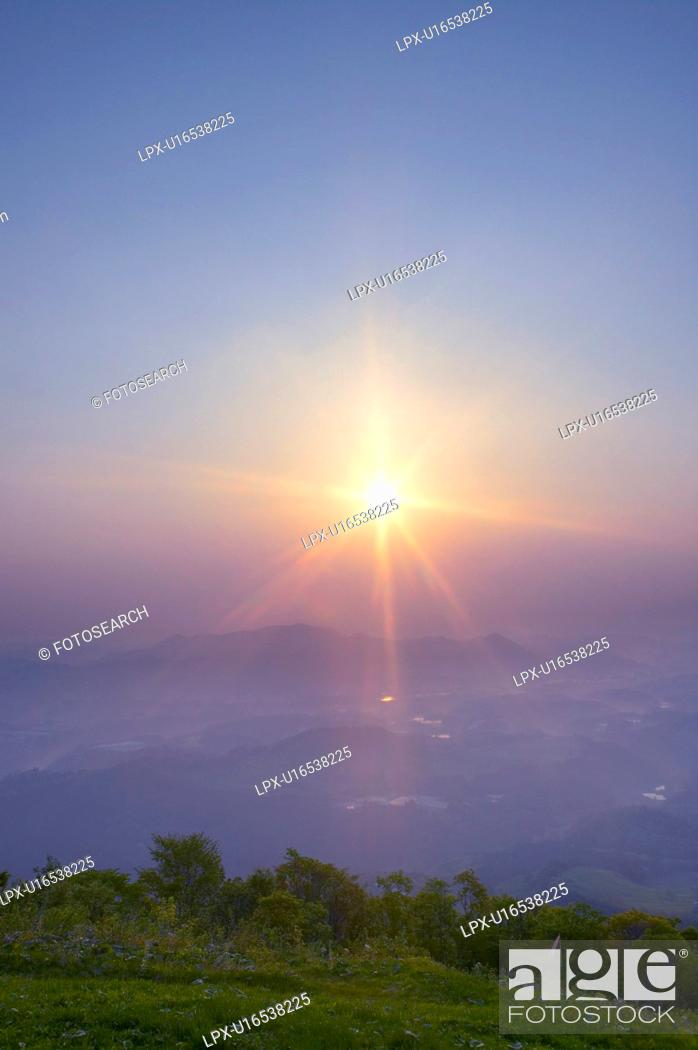 Stock Photo: Morning sun over Daikoku woods, Takko-machi, Aomori Prefecture, Japan.