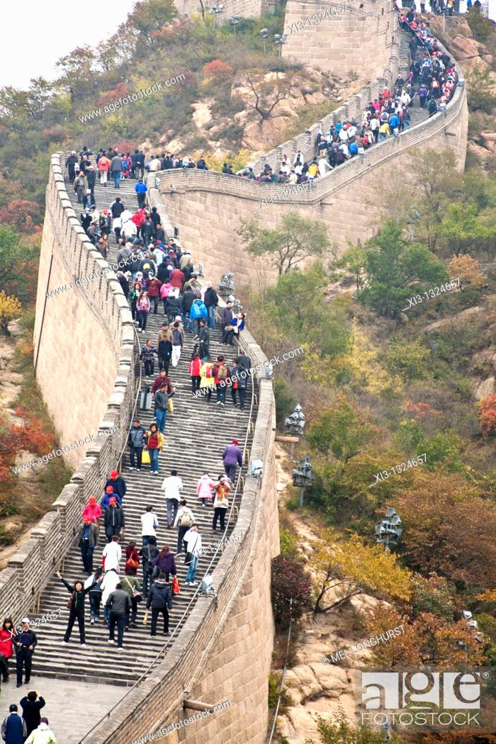 Stock Photo: Tourists visiting the Great Wall of China, Badaling, Yanqing County, near Beijing, China.