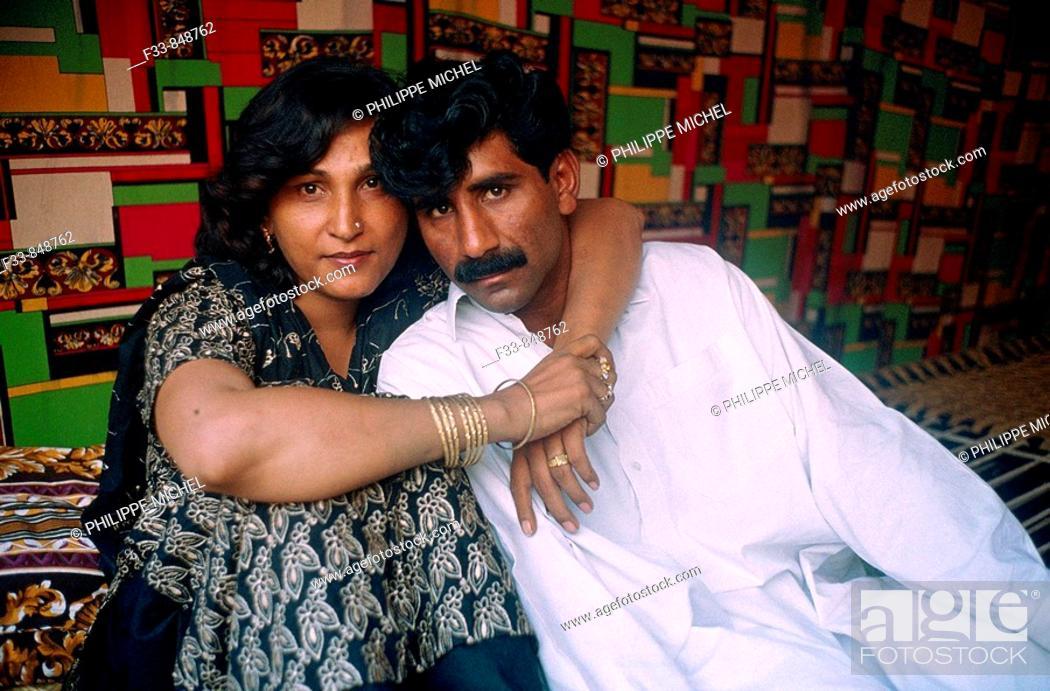 Stock Photo: 'Hijra' with her lover. Punjab, Pakistan.