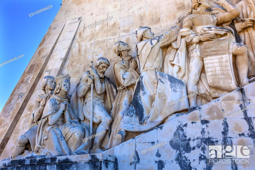 Imagen: Monument to Diiscoveries Explorers Padrao dos Descobrimentos Tagus River Belem Lisbon Portugal. The monument was conceived by Portuguese Continellis and.