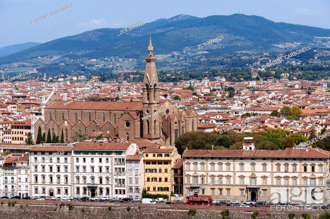 Stock Photo: Basilica di Santa Croce from Piazzale Michelangelo, Florence, Tuscany, Italy.