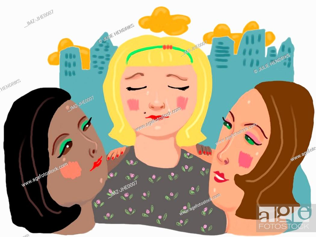 Stock Photo: Two women consoling their friend.