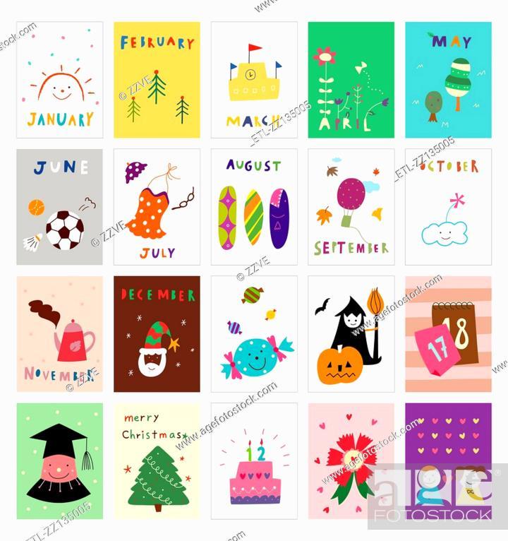 Stock Photo: Various calendar postcard.
