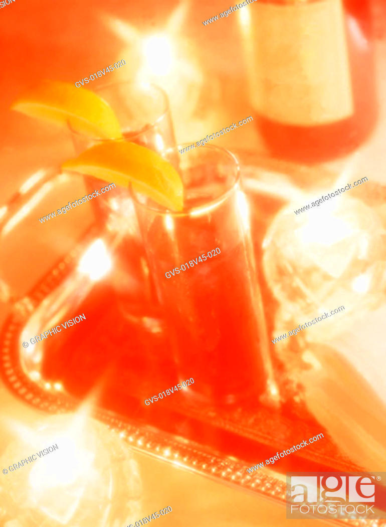 Stock Photo: Close Up of a Drink on a Silver Tray.