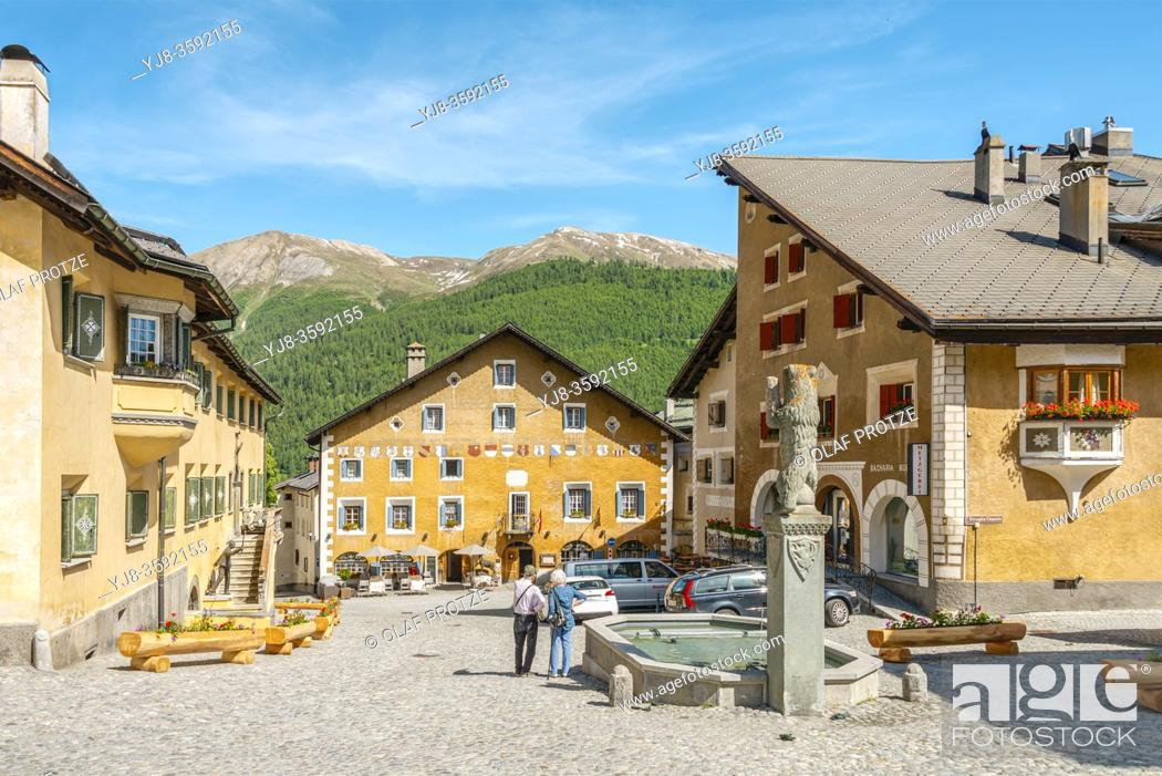 Stock Photo: Central village square of Zuoz, Grisons, Switzerland.
