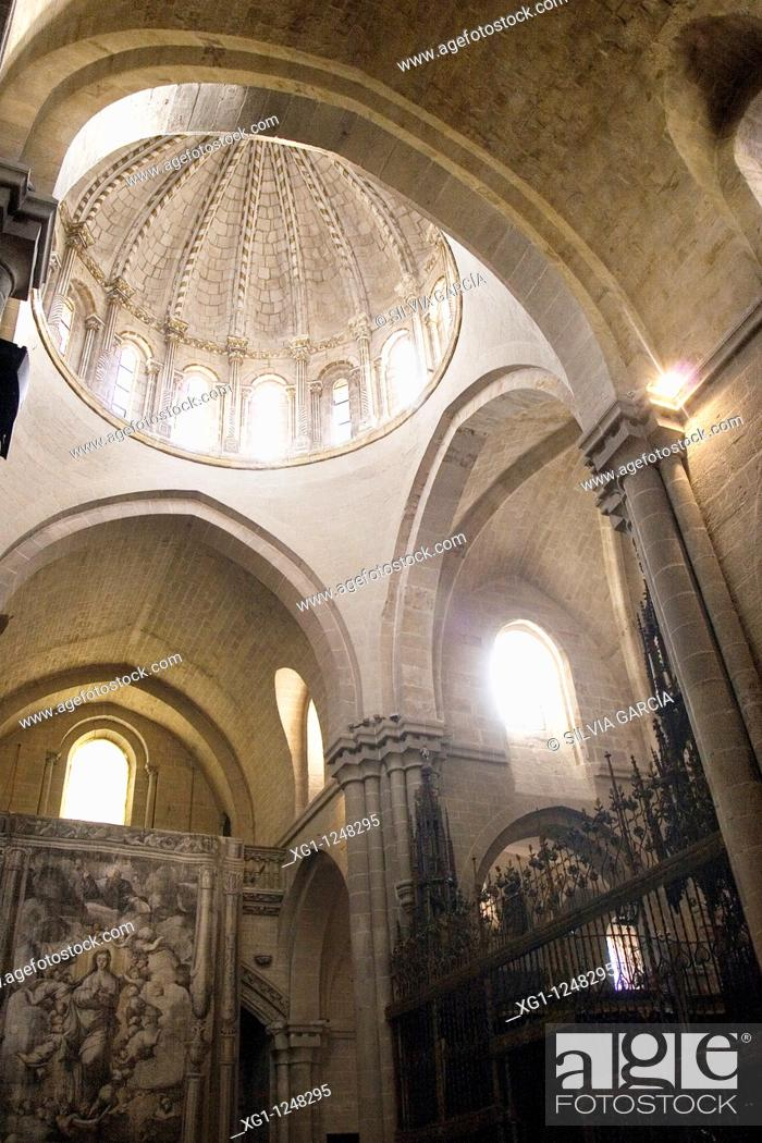 Stock Photo: Interior detail of the Dome of the Cathedral of Salvador, Zamora, Castilla y Leon, Spain.