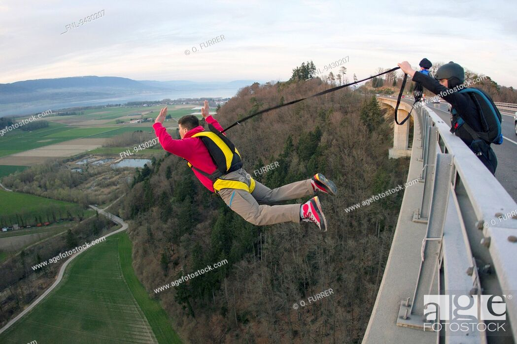 Stock Photo: Two skydiver, Yverdon-les-Bains, Canton Waadt, Switzerland, Europa.