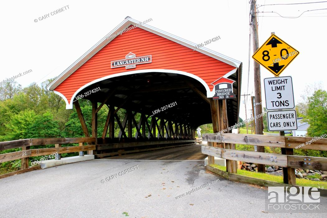 Stock Photo: Covered bridge number 31 on Mechanic Street in Lancaster, New Hampshire, NH, USA.