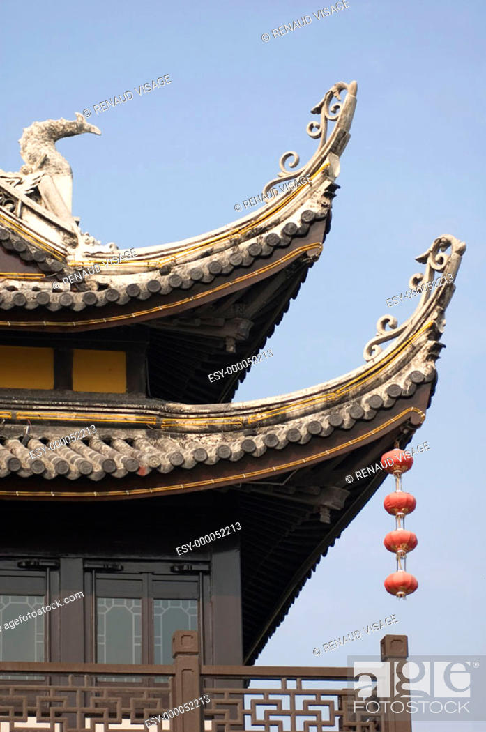 Stock Photo: Architectural detail of temple on Louxing Islet. Tongli. China.
