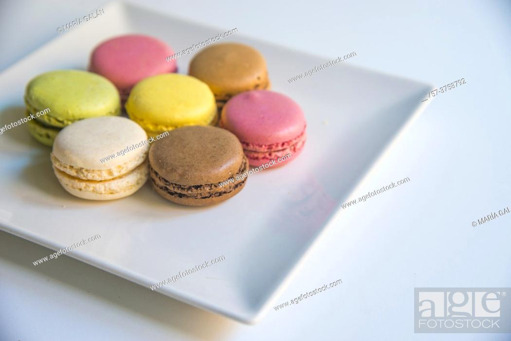 Stock Photo: Assorted macaroons in a dish.