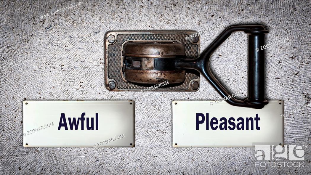 Stock Photo: Wall Switch the Direction Way to Pleasant versus Awful.