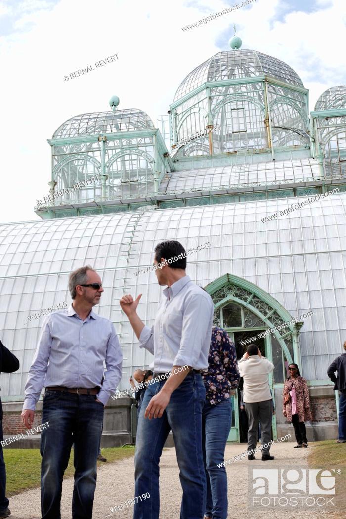 Stock Photo: Visitors at Royal Greenhouses in Laeken.