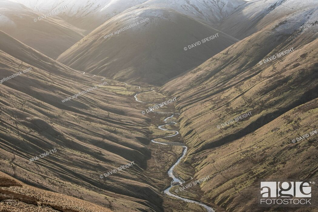 Stock Photo: View down Langdale Valley to snow capped Cobles in winter in the Howgill Fells near Sedbergh, Cumbria, England, United Kingdom, Europe.