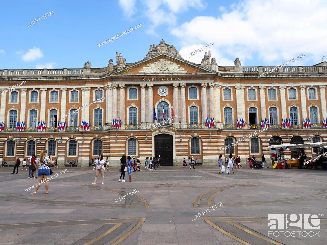Stock Photo: Capitolium, City Hall, Place du Capitole, Toulouse, Haute-Garonne Department, Occitanie, France.