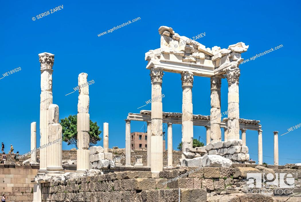 Stock Photo: Ruins of the Temple of Dionysos on an Ancient Greek city Pergamon in Turkey.