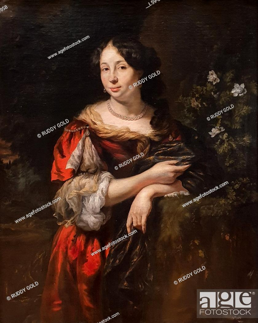 Stock Photo: 'Portrait of a Young Lady', 1675/80, by Nicolaes Maes (1634-1693).