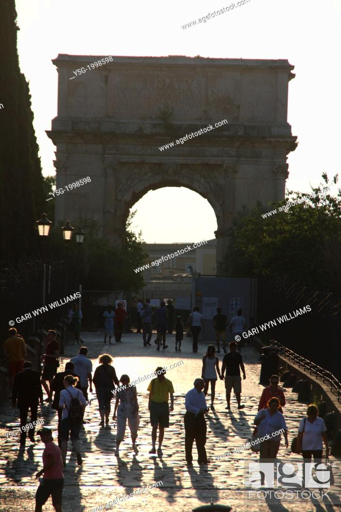 Stock Photo: arch of titus and the via sacra in rome italy.