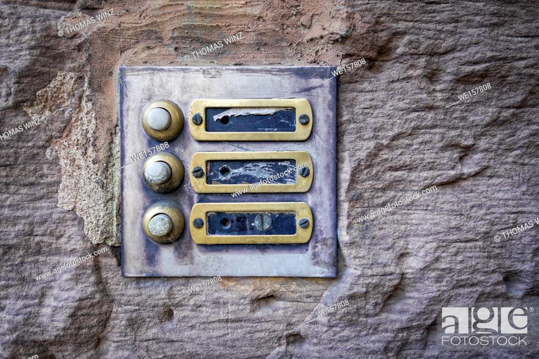 Stock Photo: old door bells.