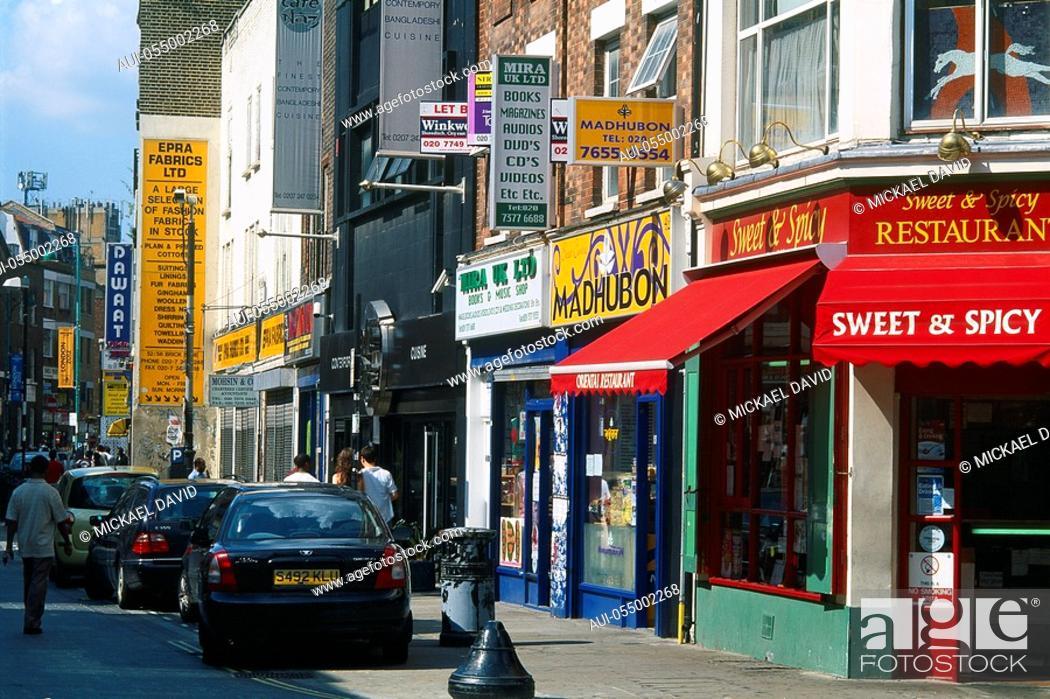 Stock Photo: England - London - Whitechapel District - Brick Lane Street.