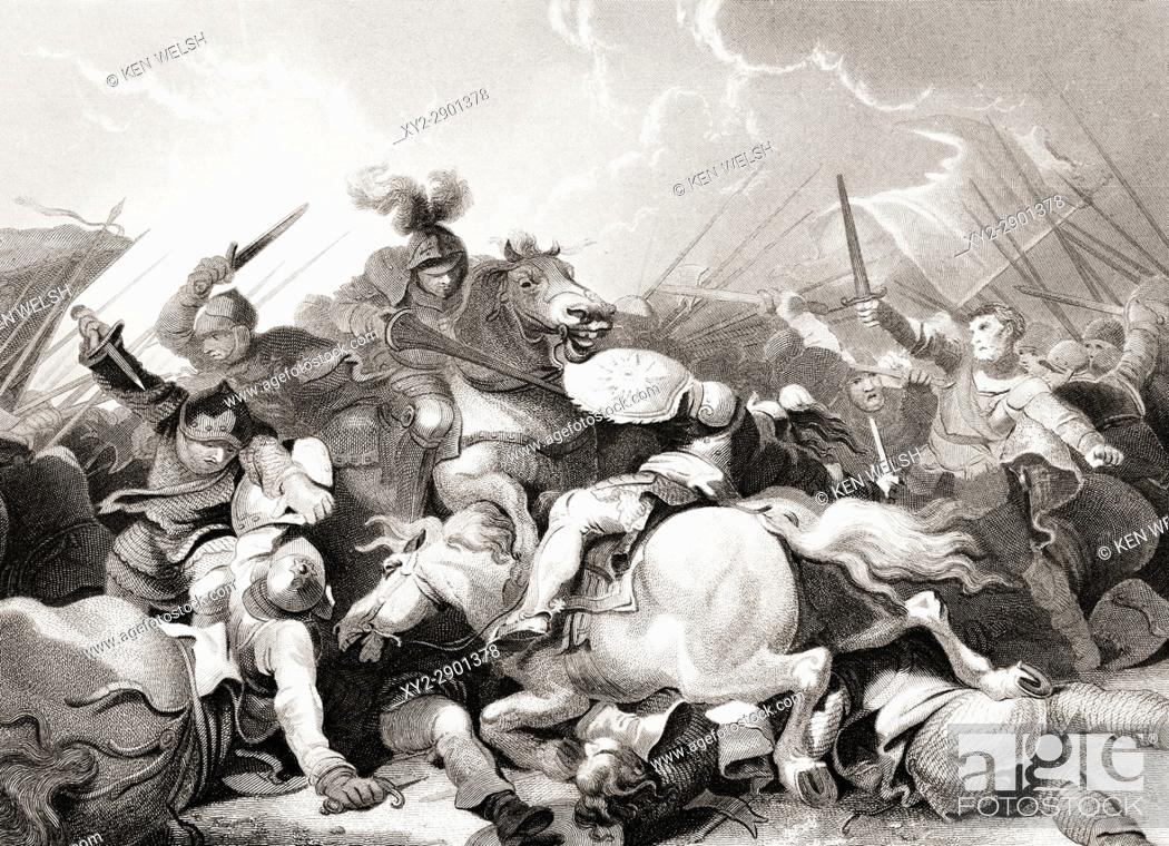 Stock Photo: The Battle of Bosworth Field, August 22, 1485. From The National and Domestic History of England by William Aubrey published London circa 1890.