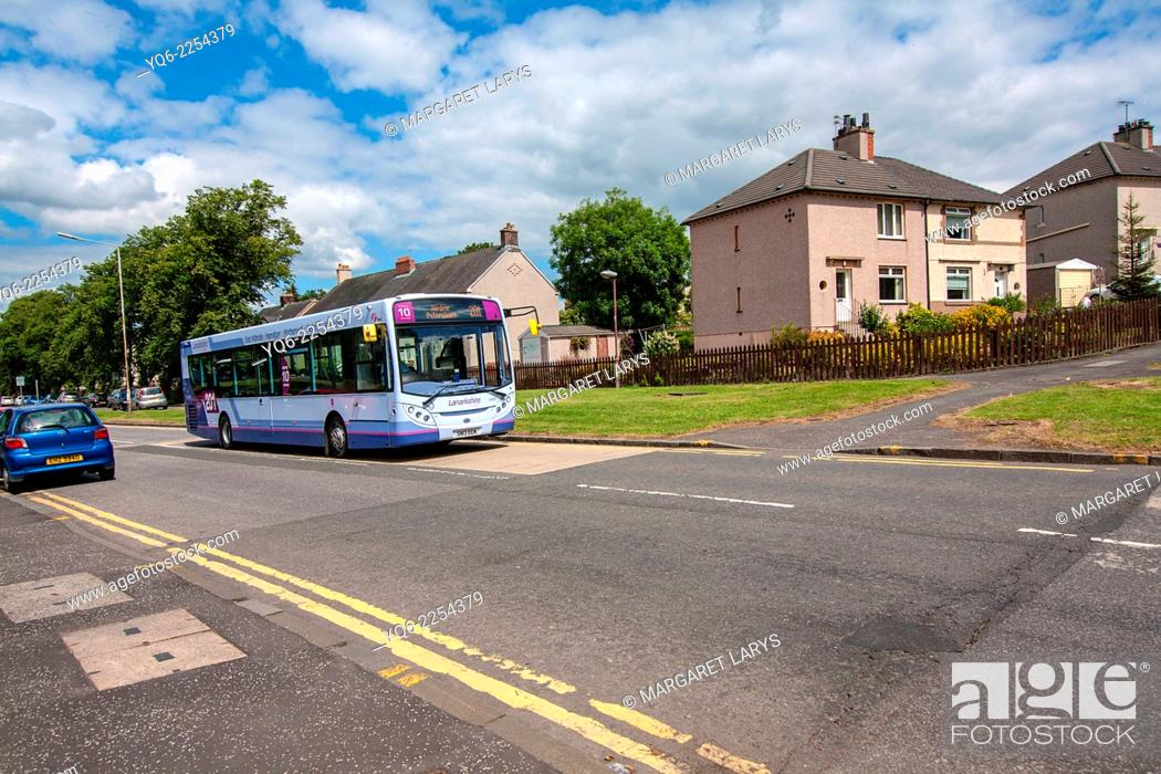Stock Photo: Streets of Airdrie with local bus, North Lanarkshire in Scotland, Uniteg Kingdom.