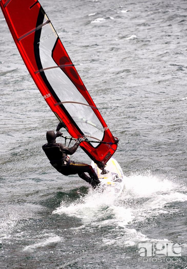 Stock Photo: windurfing, Lake Como, Lombardy, Italy.