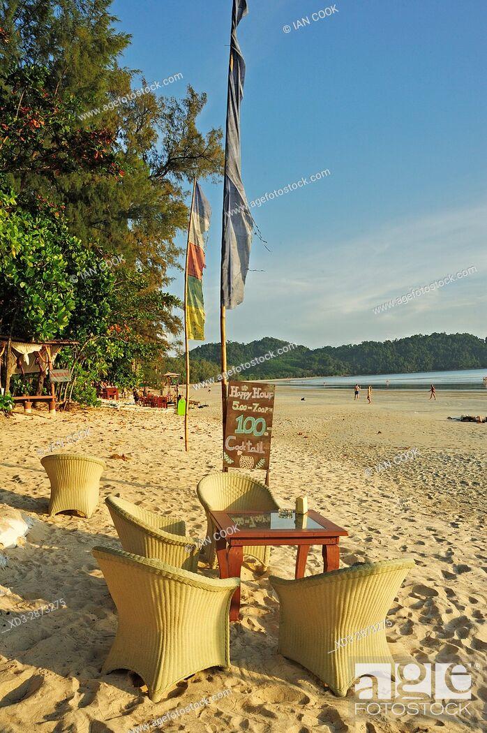 Stock Photo: Bamboo Bungalows Guest House, Ao Yai Beach, Koh Phayam, Ranong Province, Thailand.