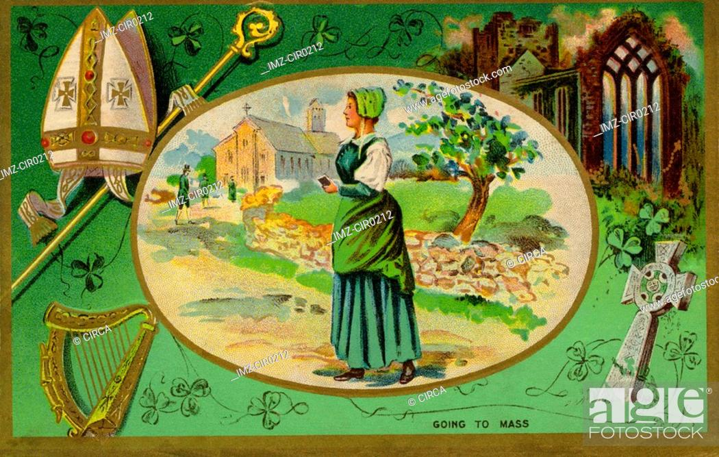 Stock Photo: A collage of Irish symbols and a woman attending mass.