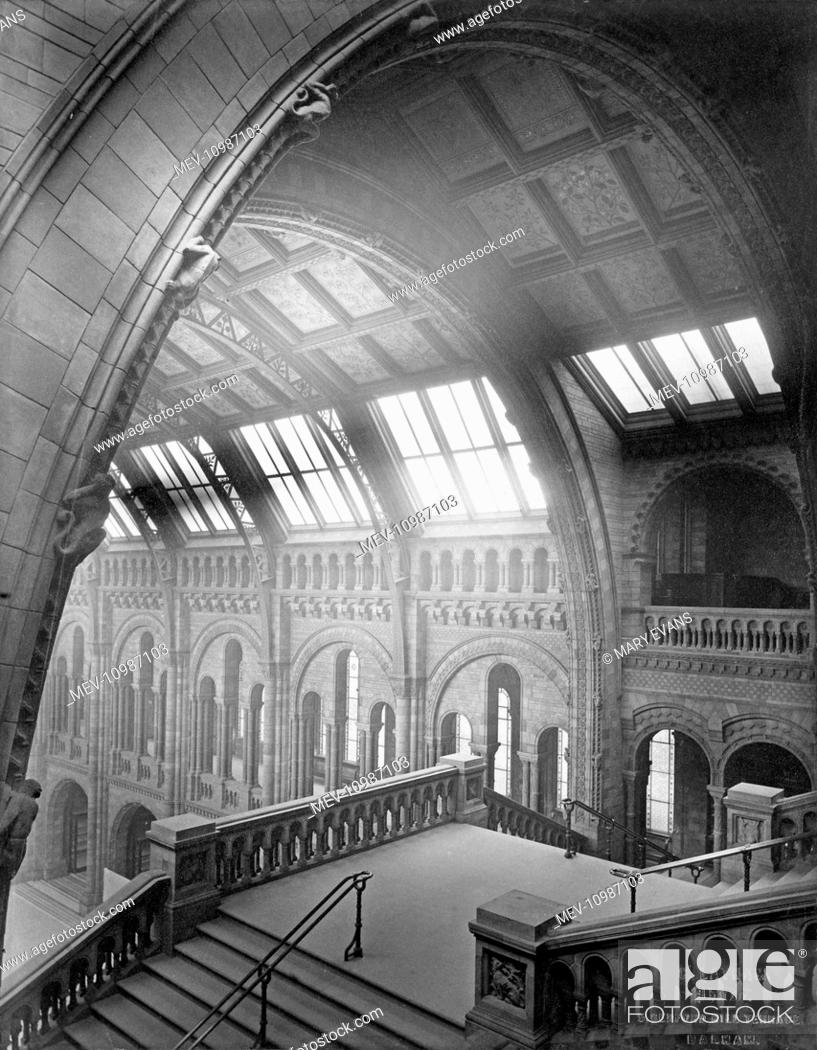 Stock Photo   Photograph Of Central Hall From The Botany Landing, Showing  Monkey Arch And South Staircase. Circa 1882. Archive Ref: PH/173/57