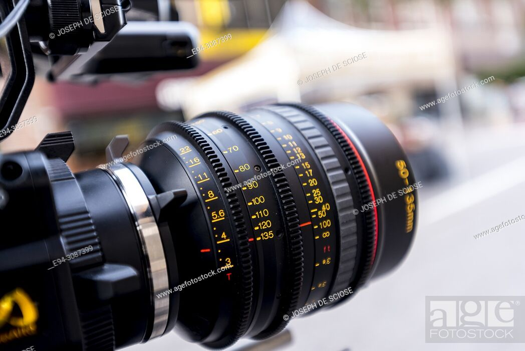 Stock Photo: A close up of a video camera lens.