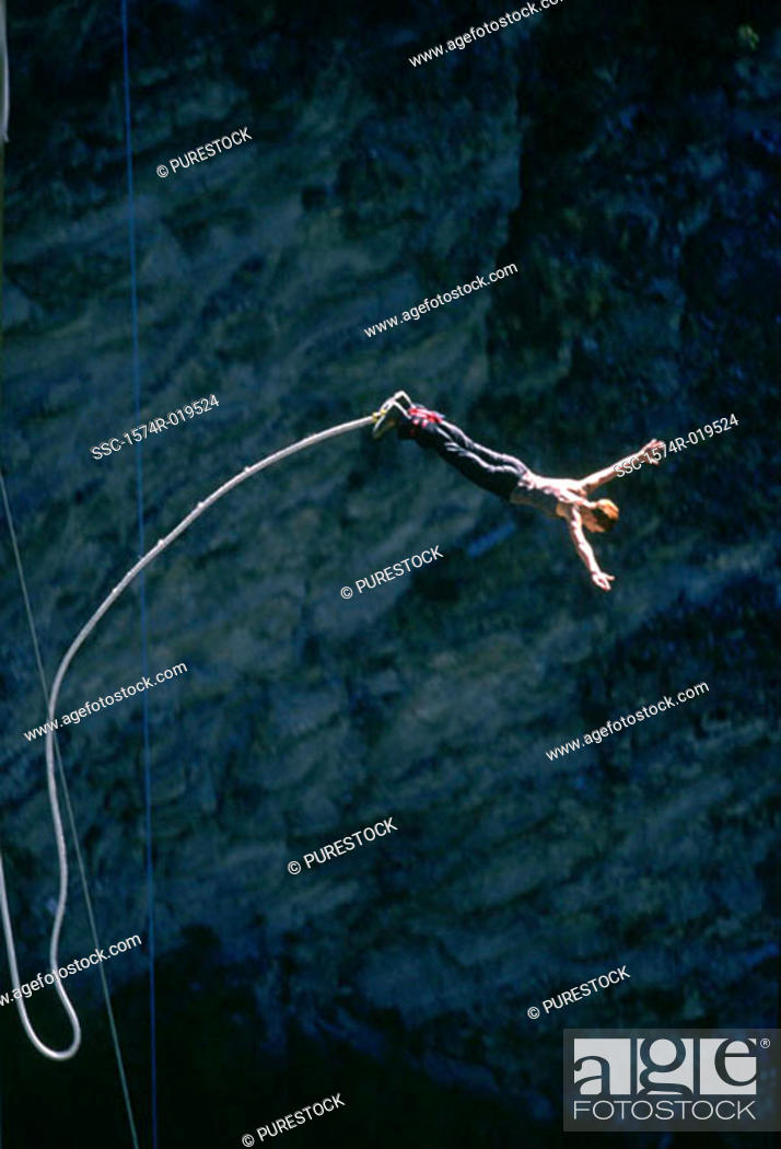 Stock Photo: Bungee jumping, France.