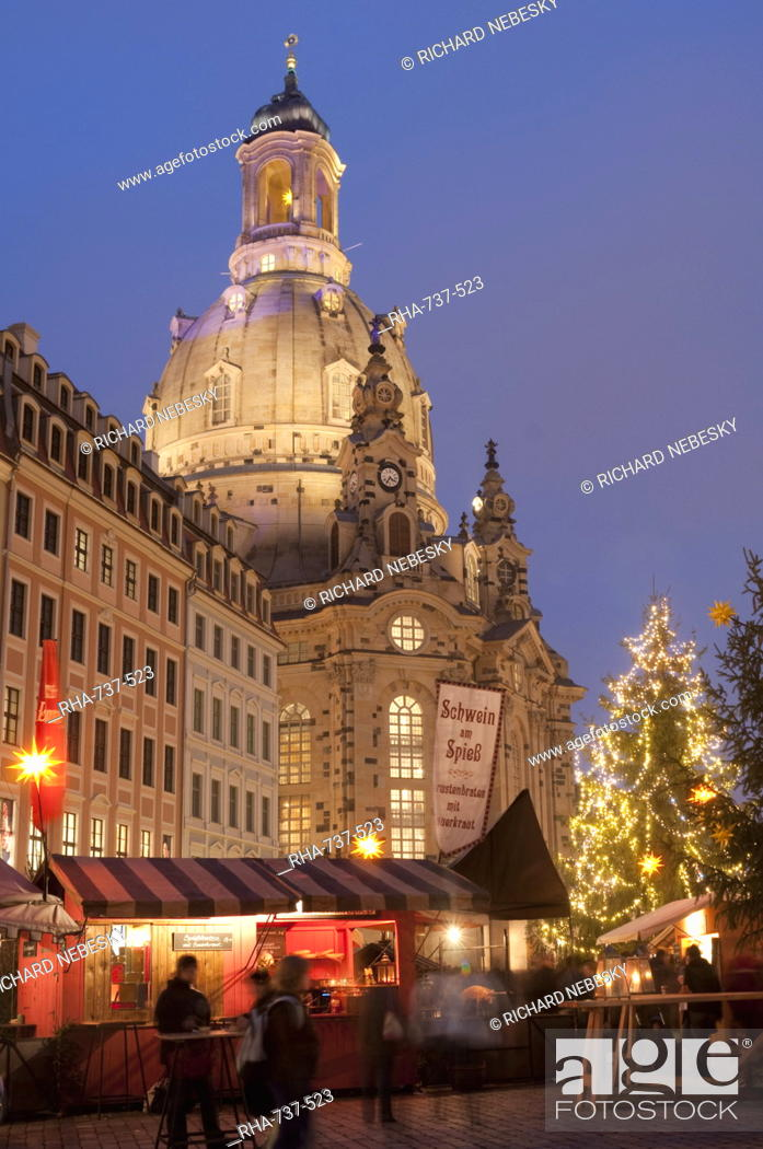 Stock Photo: Christmas Market stalls in front of Frauen Church and Christmas tree at twilight, Neumarkt, Innere Altstadt, Dresden, Saxony, Germany, Europe.