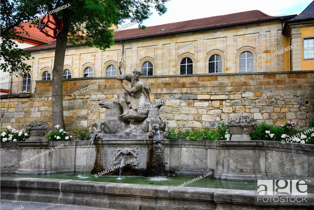 Stock Photo: Wittelsbacher fountain opposite the Margravial Opera House, Opernstrasse, Castle church's vicarage in the background, Bayreuth, Upper Franconia, Bavaria, Bayern.