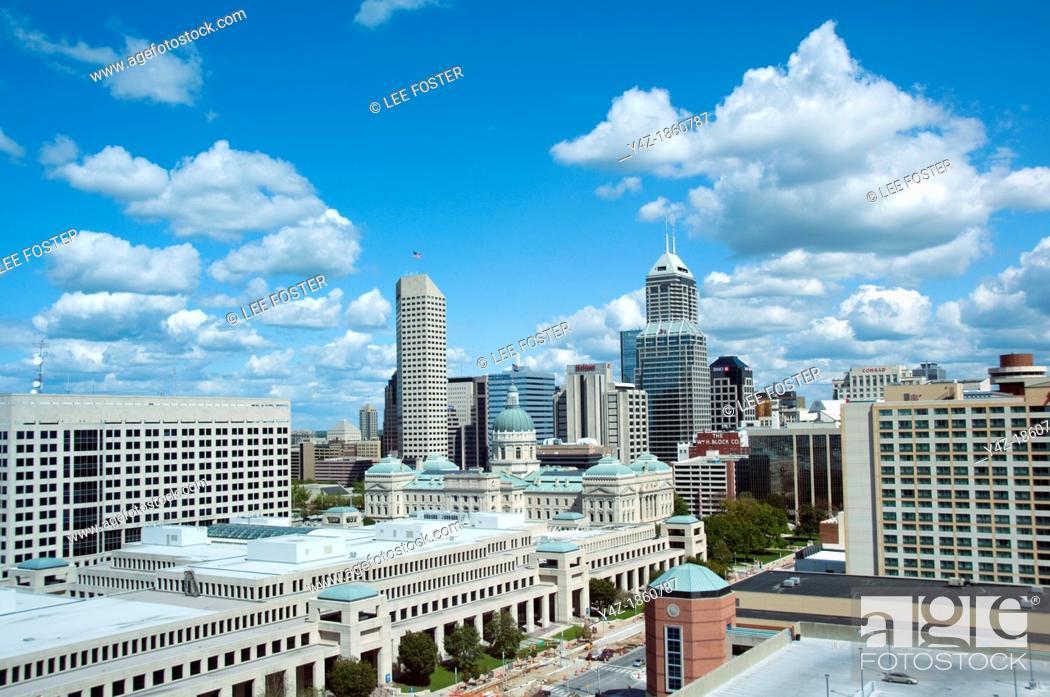 Stock Photo: USA, Indiana, Indianapolis skyline.