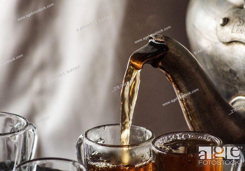 Stock Photo: Tea being served at Bedouin camp. Wadi Rum, Jordan, Middle East.