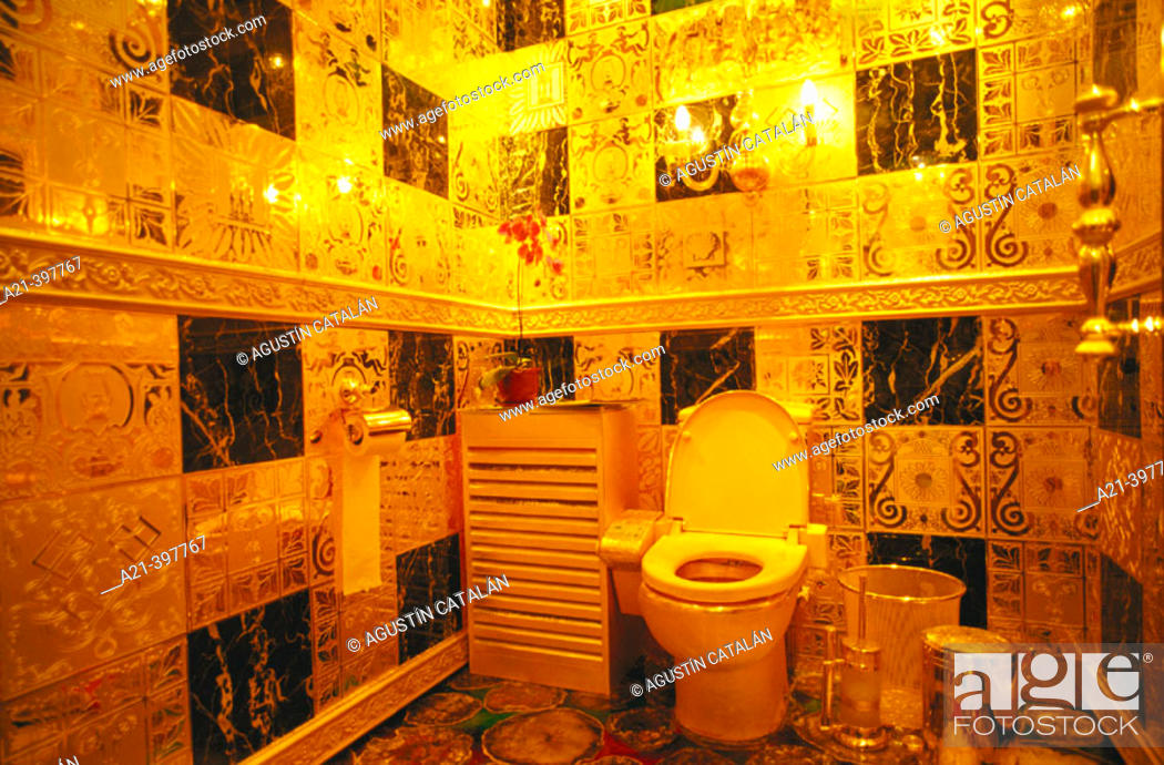 Stock Photo: Gold, rubies, pearls, sapphires and emeralds bathroom. Hang Fung Gold Technology group. Guinness Book of Records most expensive bathroom. Hong Kong.