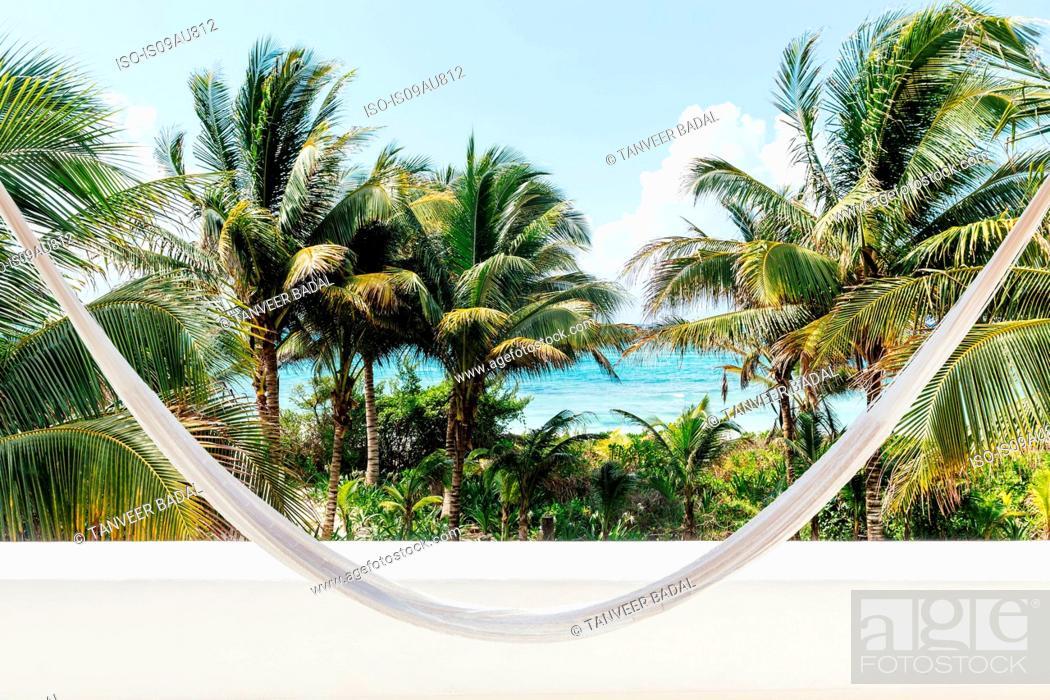 Stock Photo: Hammock, palms trees and coast, Tulum, Riviera Maya, Mexico.