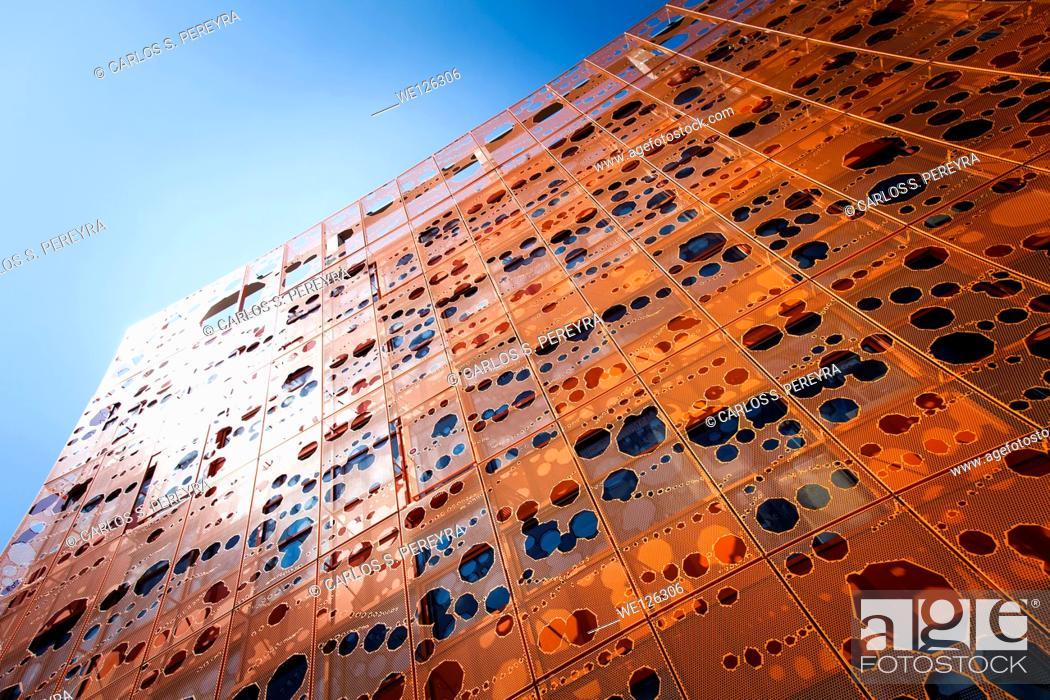 Stock Photo: Pavillon des Salins, Orange Cube, La Confluence district, Lyon, region Rhone-Alpes, Rhone.