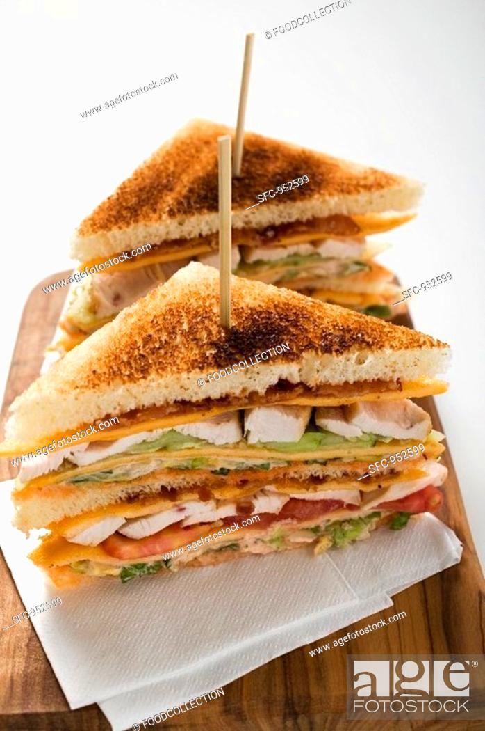 Stock Photo: Chicken club sandwiches, toasted.