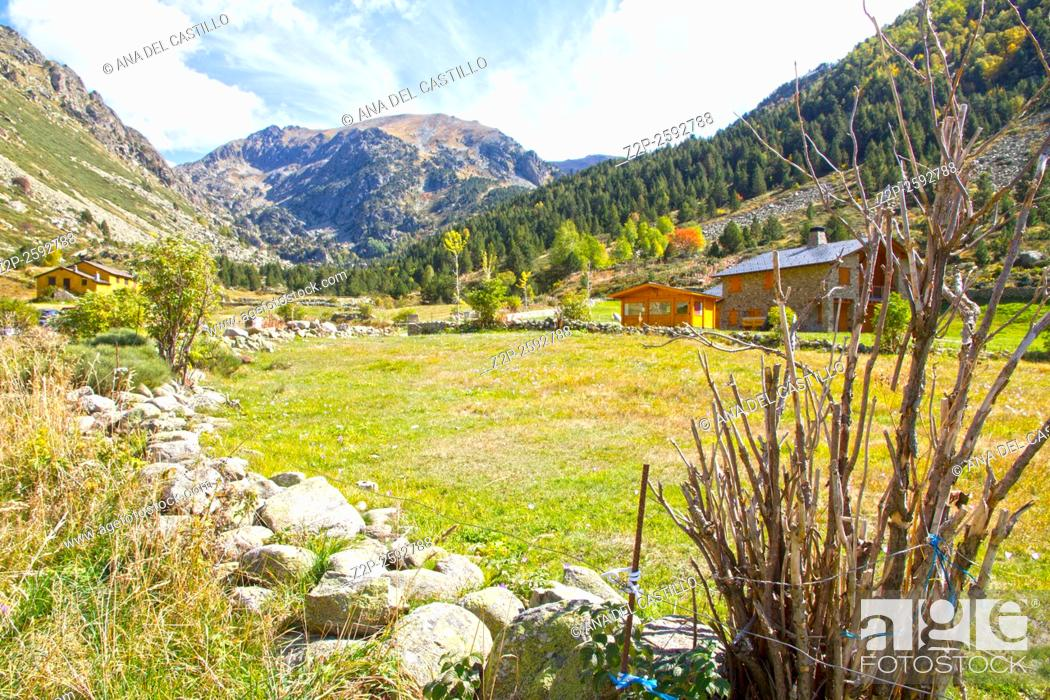 Stock Photo: Incles valley Pyrenees mountains landscape Andorra.