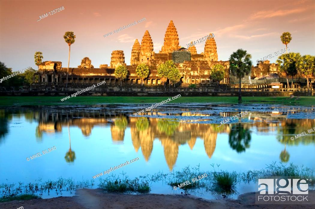 Stock Photo: sunset in Angkor Wat  Angkor temples  Cambodia, Asia.